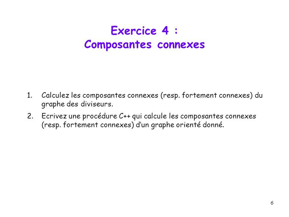 6 Exercice 4 : Composantes connexes 1.Calculez les composantes connexes (resp. fortement connexes) du graphe des diviseurs. 2.Ecrivez une procédure C+