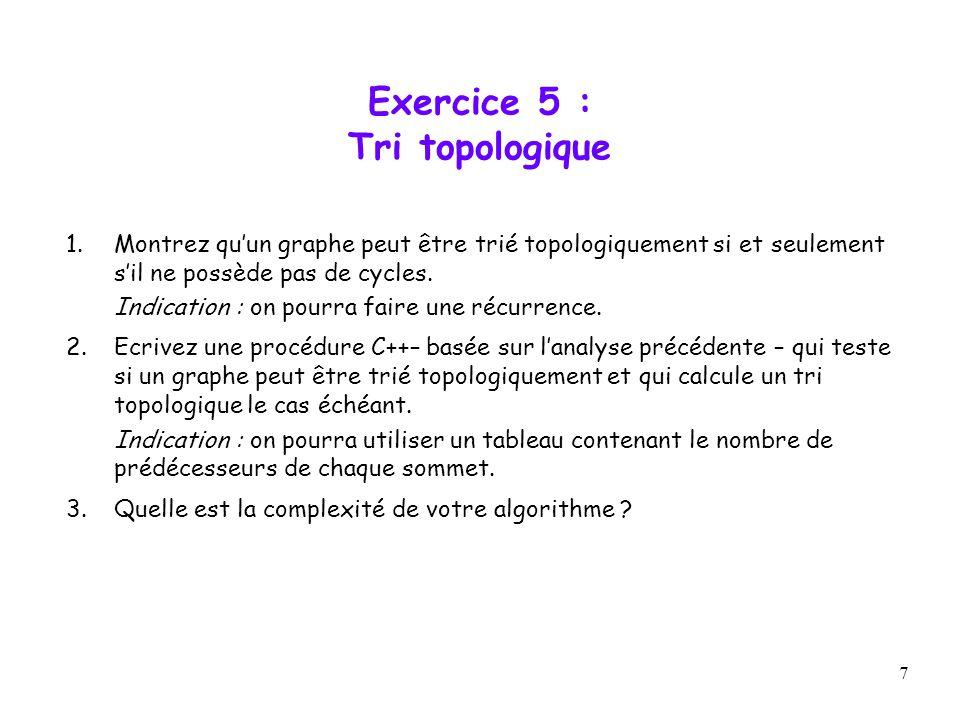 7 Exercice 5 : Tri topologique 1.Montrez quun graphe peut être trié topologiquement si et seulement sil ne possède pas de cycles. Indication : on pour