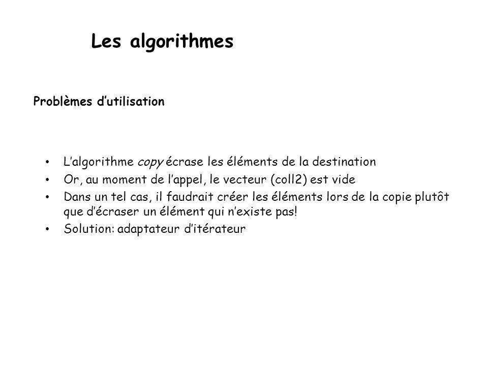 Les algorithmes Problèmes dutilisation Lalgorithme copy écrase les éléments de la destination Or, au moment de lappel, le vecteur (coll2) est vide Dans un tel cas, il faudrait créer les éléments lors de la copie plutôt que décraser un élément qui nexiste pas.