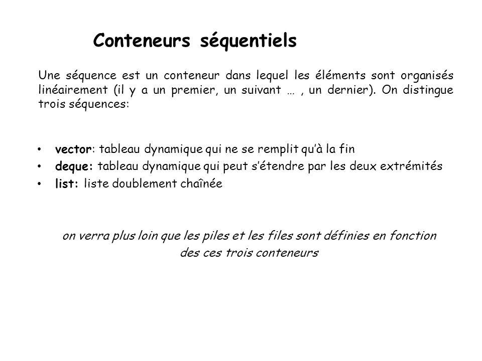 Conteneurs séquentiels vector: tableau dynamique qui ne se remplit quà la fin deque: tableau dynamique qui peut sétendre par les deux extrémités list: liste doublement chaînée on verra plus loin que les piles et les files sont définies en fonction des ces trois conteneurs Une séquence est un conteneur dans lequel les éléments sont organisés linéairement (il y a un premier, un suivant …, un dernier).