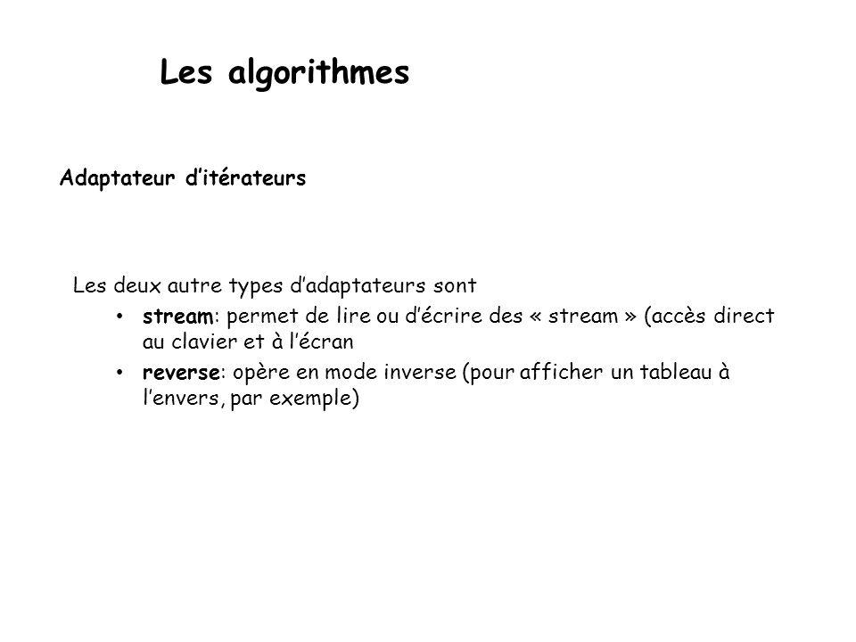 Les algorithmes Adaptateur ditérateurs Les deux autre types dadaptateurs sont stream: permet de lire ou décrire des « stream » (accès direct au clavier et à lécran reverse: opère en mode inverse (pour afficher un tableau à lenvers, par exemple)