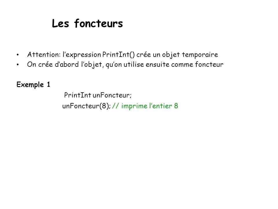 Les foncteurs Attention: lexpression PrintInt() crée un objet temporaire On crée dabord lobjet, quon utilise ensuite comme foncteur Exemple 1 PrintInt unFoncteur; unFoncteur(8); // imprime lentier 8