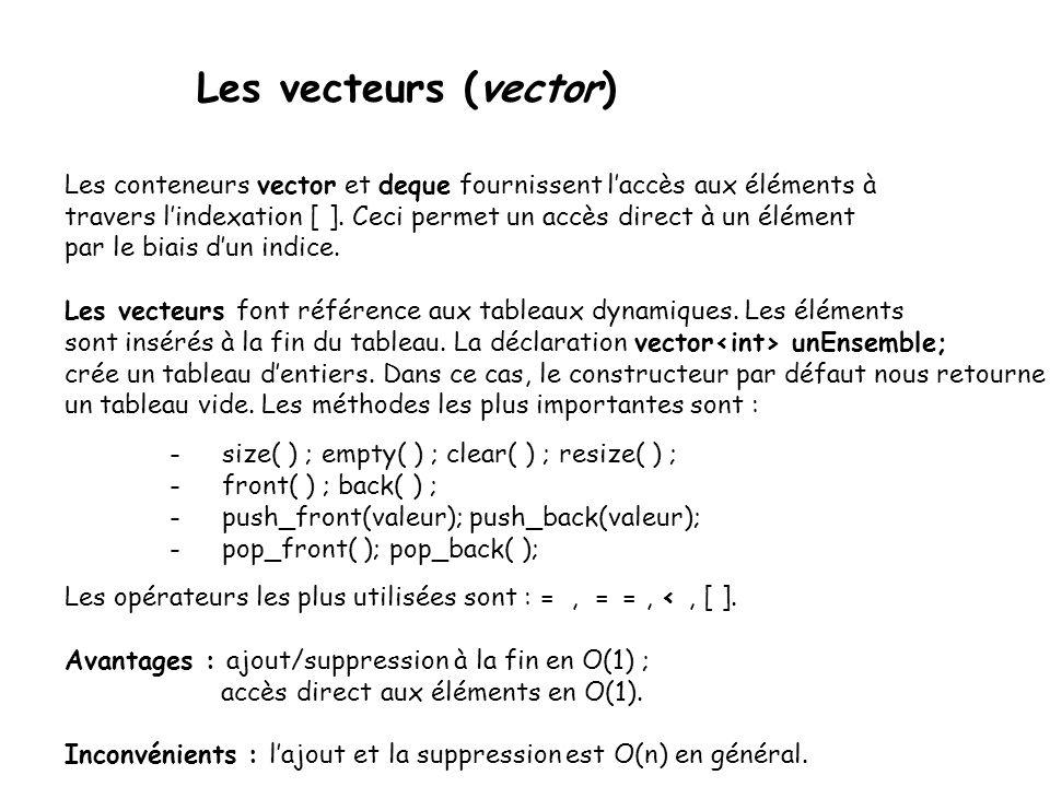 Les vecteurs (vector) Les conteneurs vector et deque fournissent laccès aux éléments à travers lindexation [ ].