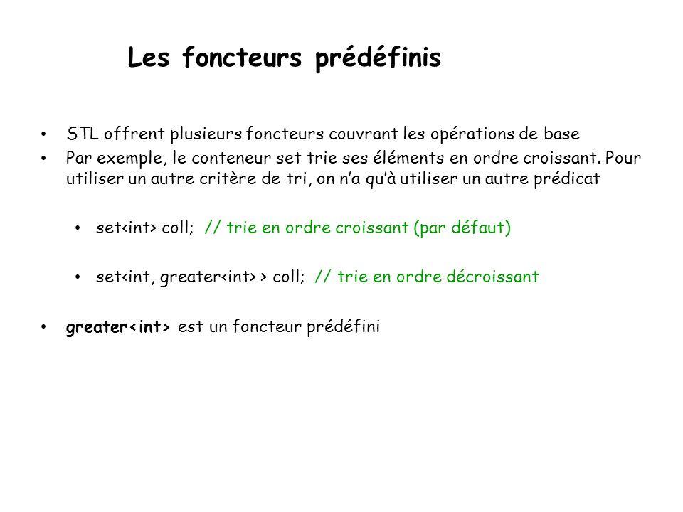 Les foncteurs prédéfinis STL offrent plusieurs foncteurs couvrant les opérations de base Par exemple, le conteneur set trie ses éléments en ordre croissant.