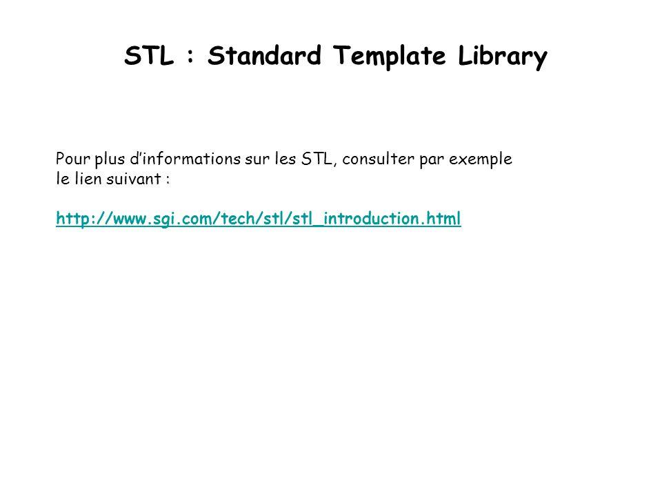 STL : Standard Template Library Pour plus dinformations sur les STL, consulter par exemple le lien suivant : http://www.sgi.com/tech/stl/stl_introduction.html