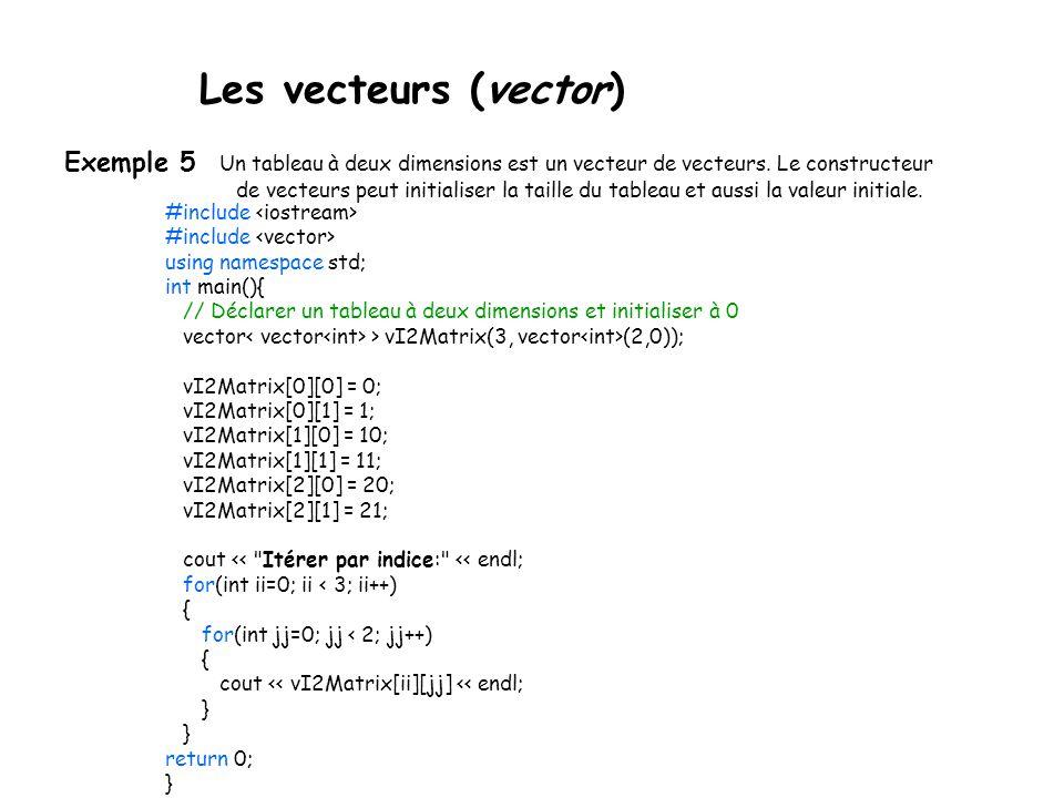 Les vecteurs (vector) Exemple 5 Un tableau à deux dimensions est un vecteur de vecteurs.