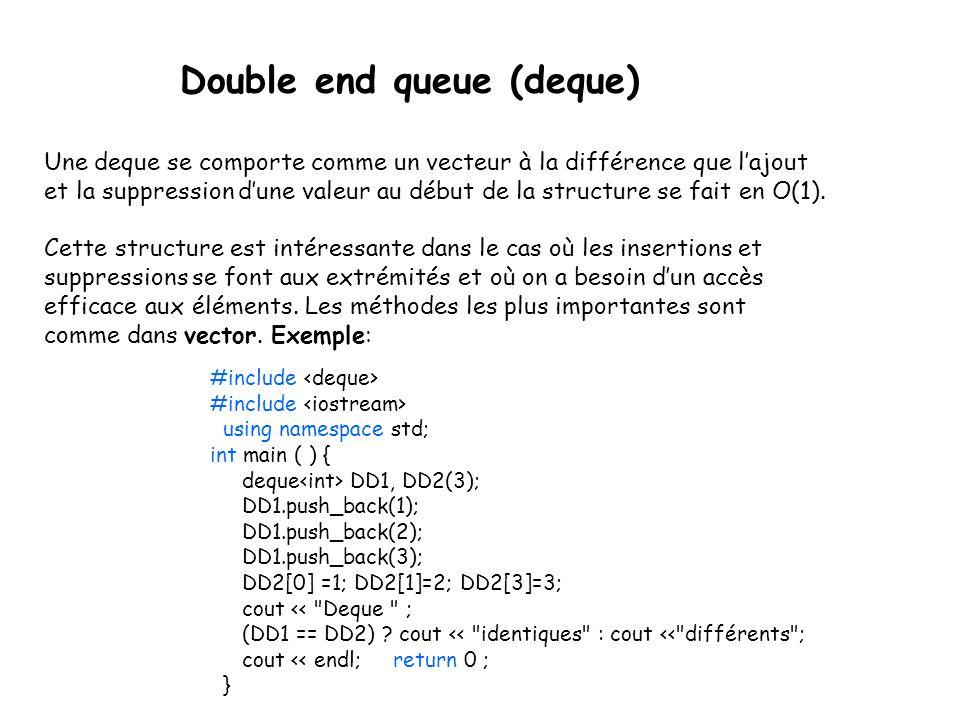 Double end queue (deque) Une deque se comporte comme un vecteur à la différence que lajout et la suppression dune valeur au début de la structure se fait en O(1).