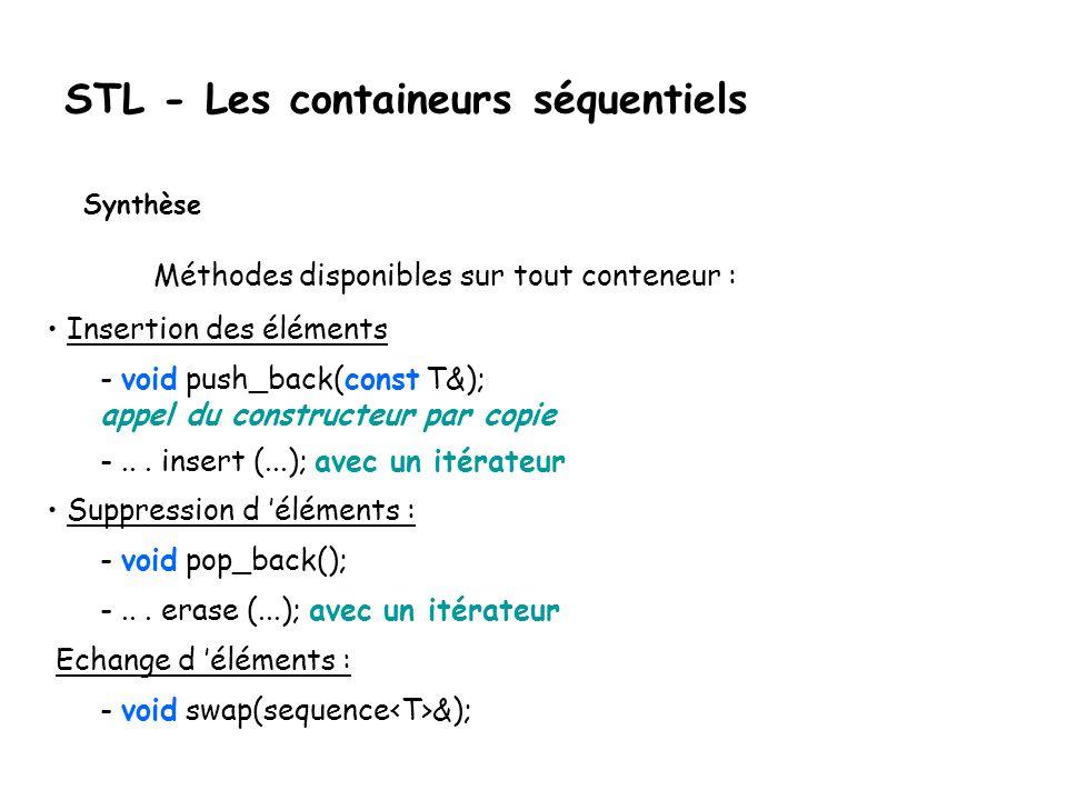 STL - Les containeurs séquentiels Synthèse Méthodes disponibles sur tout conteneur : Insertion des éléments - void push_back(const T&); appel du constructeur par copie -...