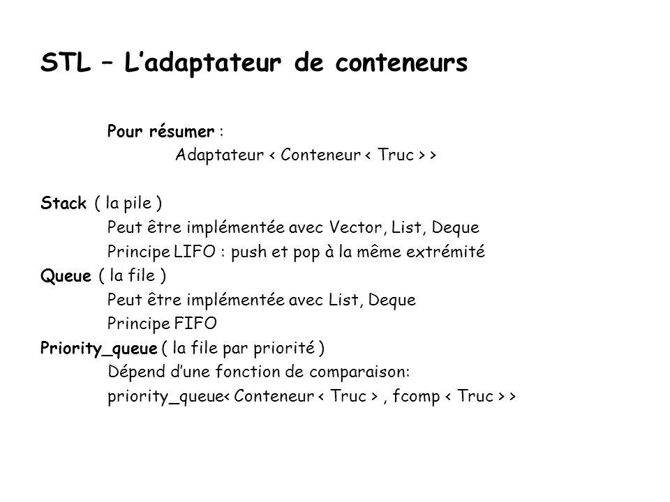 STL – Ladaptateur de conteneurs Pour résumer : Adaptateur > Stack ( la pile ) Peut être implémentée avec Vector, List, Deque Principe LIFO : push et pop à la même extrémité Queue ( la file ) Peut être implémentée avec List, Deque Principe FIFO Priority_queue ( la file par priorité ) Dépend dune fonction de comparaison: priority_queue, fcomp >