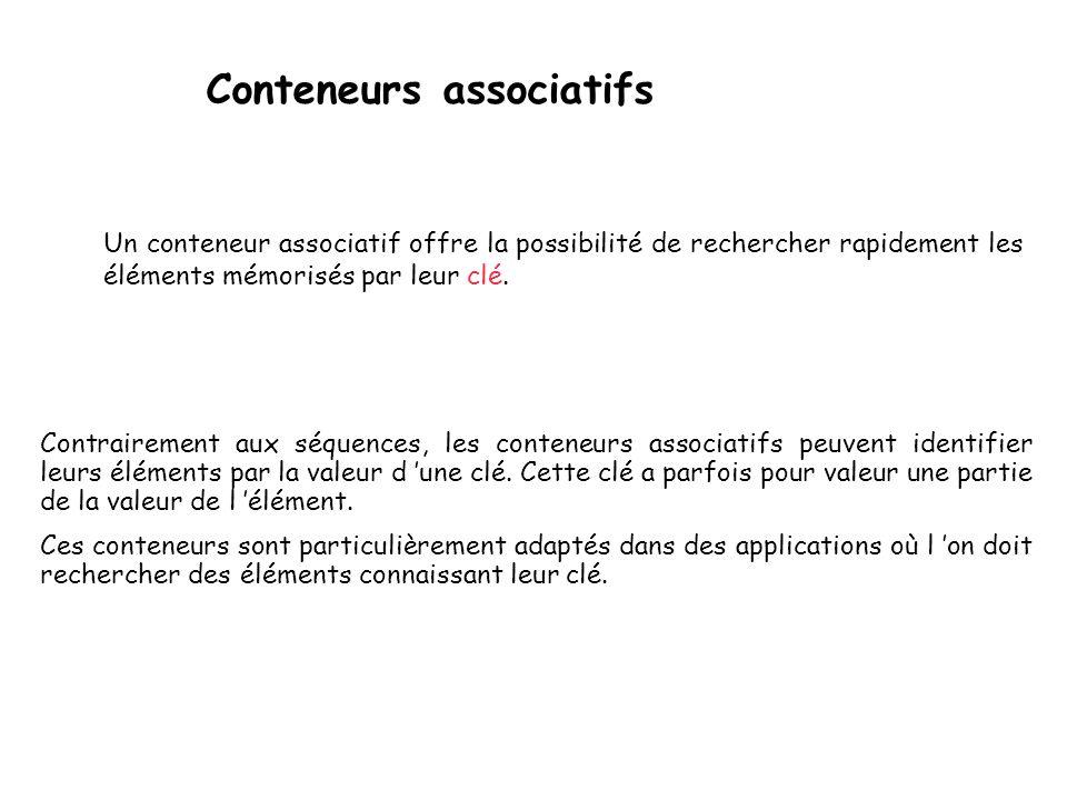 Conteneurs associatifs Contrairement aux séquences, les conteneurs associatifs peuvent identifier leurs éléments par la valeur d une clé.