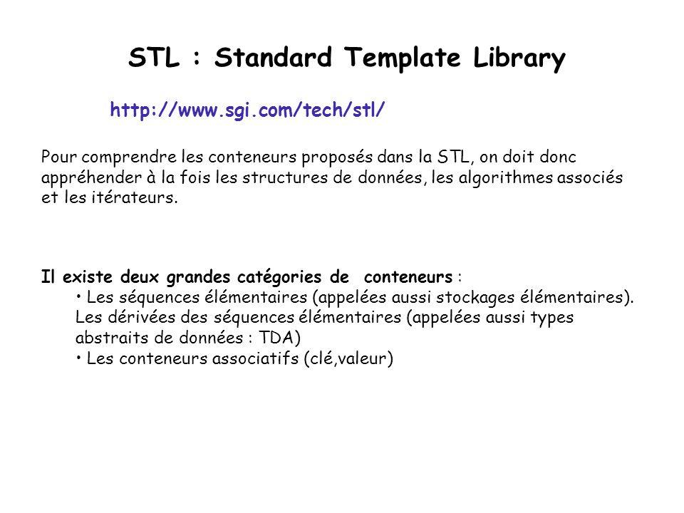 STL : Standard Template Library Il existe deux grandes catégories de conteneurs : Les séquences élémentaires (appelées aussi stockages élémentaires).