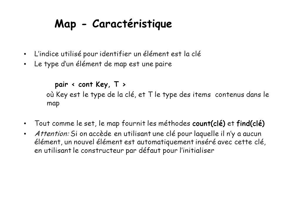 Map - Caractéristique Lindice utilisé pour identifier un élément est la clé Le type dun élément de map est une paire pair où Key est le type de la clé, et T le type des items contenus dans le map Tout comme le set, le map fournit les méthodes count(clé) et find(clé) Attention: Si on accède en utilisant une clé pour laquelle il ny a aucun élément, un nouvel élément est automatiquement inséré avec cette clé, en utilisant le constructeur par défaut pour linitialiser