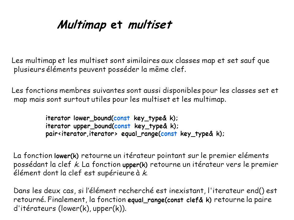 Multimap et multiset Les multimap et les multiset sont similaires aux classes map et set sauf que plusieurs éléments peuvent posséder la même clef.