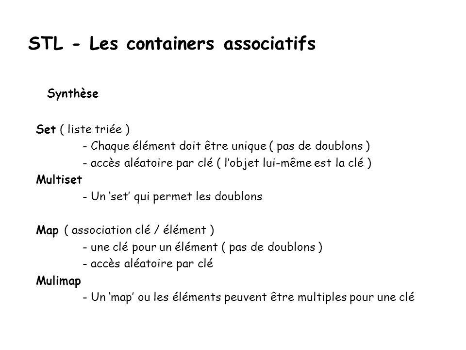 STL - Les containers associatifs Set ( liste triée ) - Chaque élément doit être unique ( pas de doublons ) - accès aléatoire par clé ( lobjet lui-même est la clé ) Multiset - Un set qui permet les doublons Map ( association clé / élément ) - une clé pour un élément ( pas de doublons ) - accès aléatoire par clé Mulimap - Un map ou les éléments peuvent être multiples pour une clé Synthèse