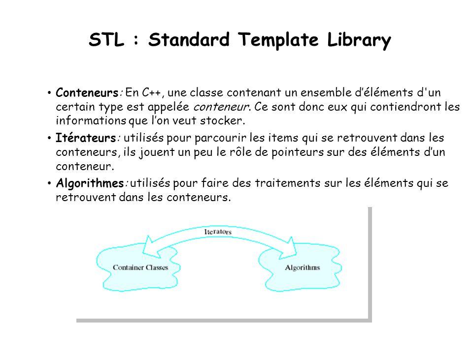 STL : Standard Template Library Conteneurs: En C++, une classe contenant un ensemble déléments d un certain type est appelée conteneur.