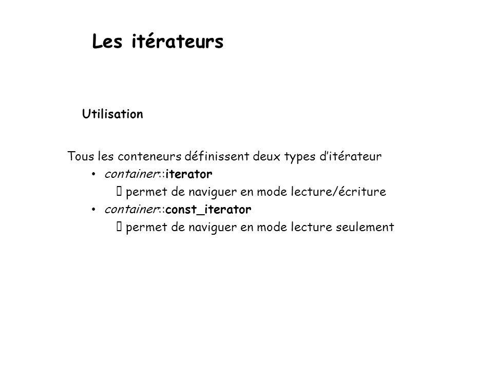 Les itérateurs Tous les conteneurs définissent deux types ditérateur container::iterator permet de naviguer en mode lecture/écriture container::const_iterator permet de naviguer en mode lecture seulement Utilisation