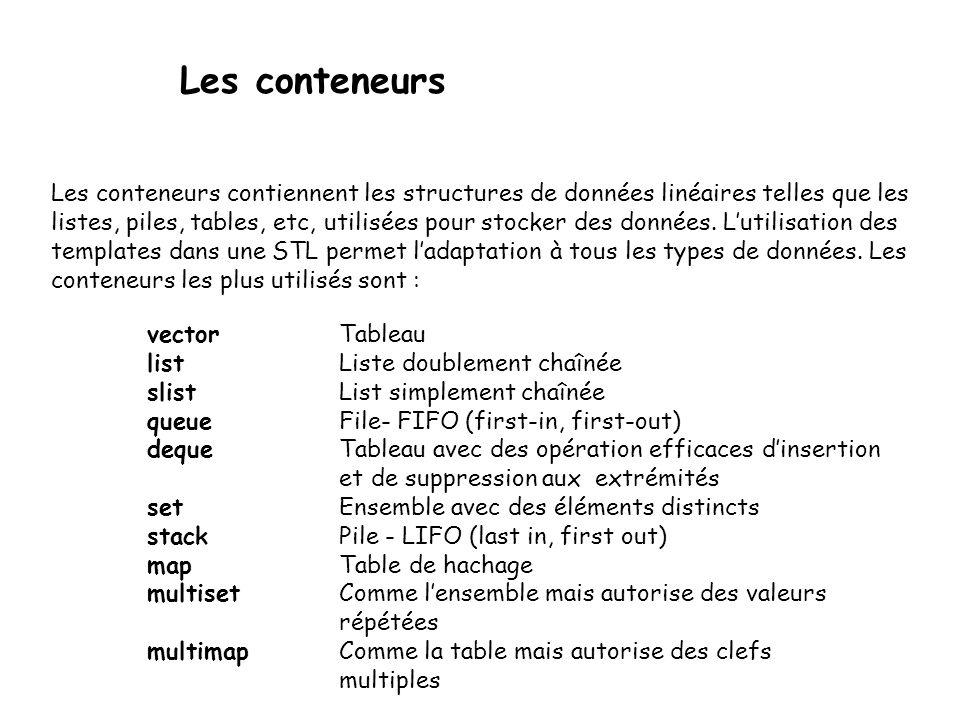 Les conteneurs Les conteneurs contiennent les structures de données linéaires telles que les listes, piles, tables, etc, utilisées pour stocker des données.
