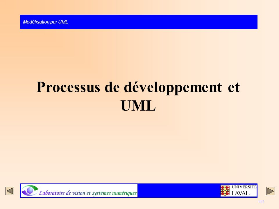 Modélisation par UML 111 Processus de développement et UML