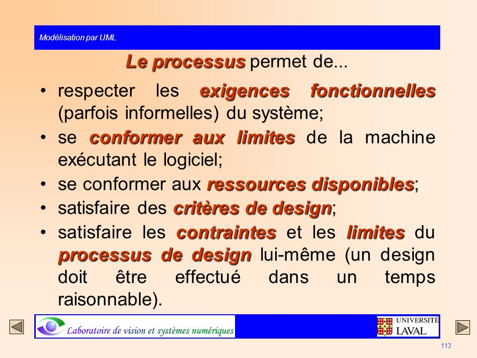 Modélisation par UML 113 Le processus Le processus permet de... exigences fonctionnellesrespecter les exigences fonctionnelles (parfois informelles) d