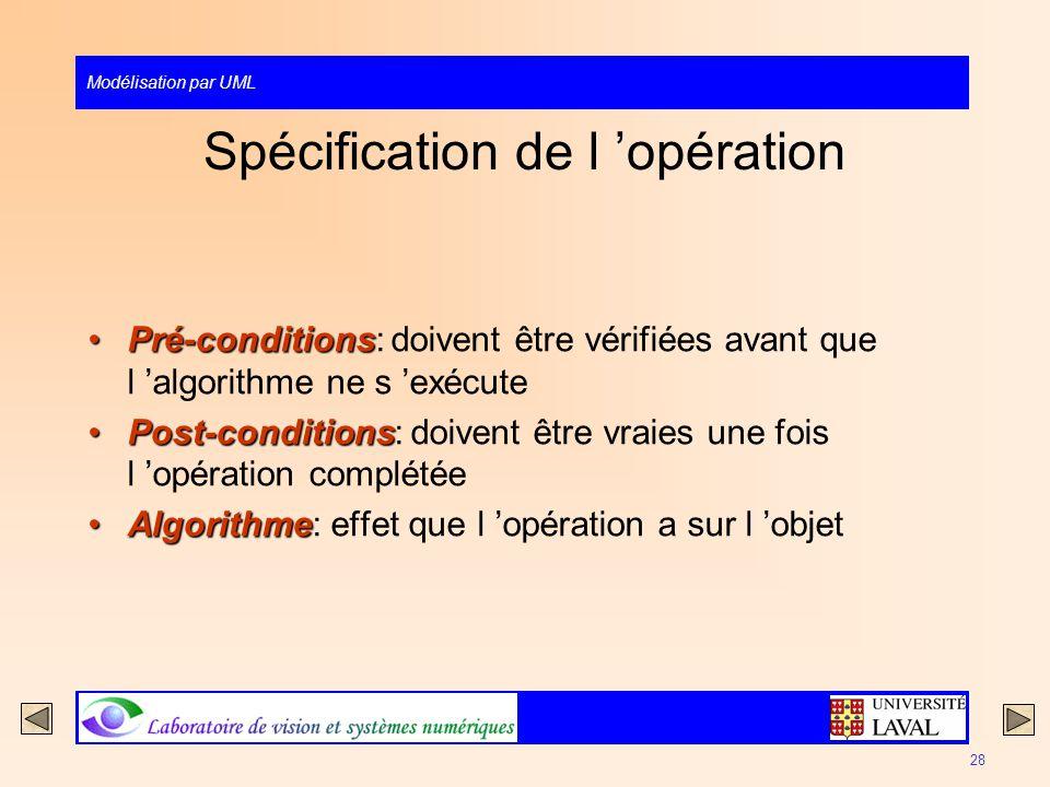 Modélisation par UML 28 Spécification de l opération Pré-conditionsPré-conditions: doivent être vérifiées avant que l algorithme ne s exécute Post-con
