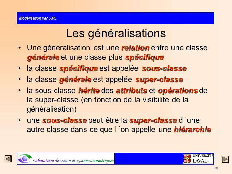 Modélisation par UML 38 Les généralisations relation généralespécifiqueUne généralisation est une relation entre une classe générale et une classe plu