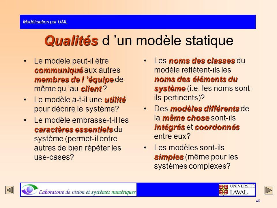 Modélisation par UML 46 Qualités Qualités d un modèle statique communiqué membres de l équipe clientLe modèle peut-il être communiqué aux autres membr
