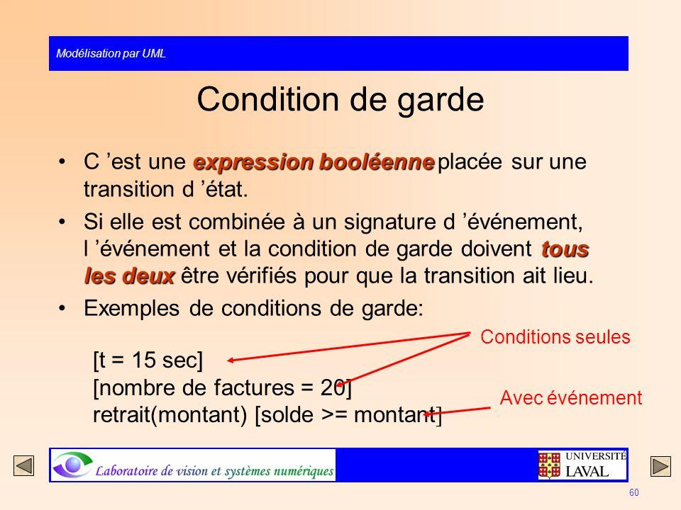 Modélisation par UML 60 Condition de garde expression booléenneC est une expression booléenne placée sur une transition d état. tous les deuxSi elle e