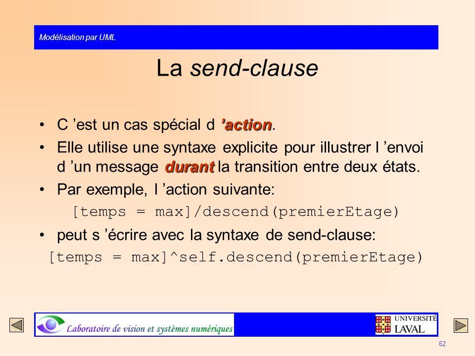 Modélisation par UML 62 La send-clause actionC est un cas spécial d action. durantElle utilise une syntaxe explicite pour illustrer l envoi d un messa