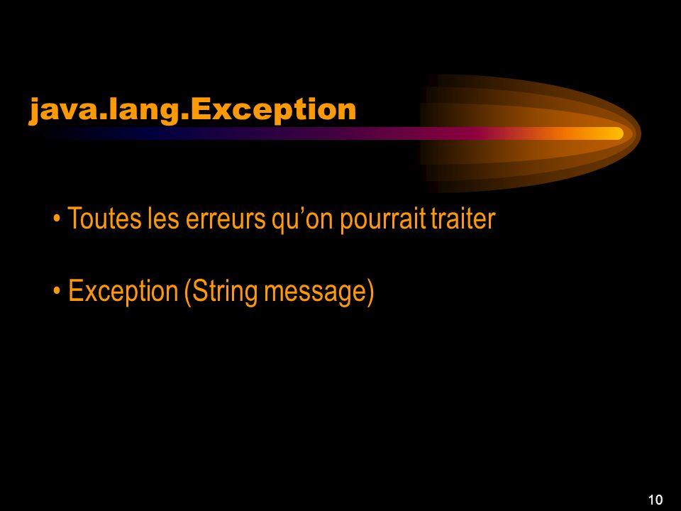 9 java.lang.Error Des problèmes sérieux Lapplication ne doit pas intercepter Error (String message)