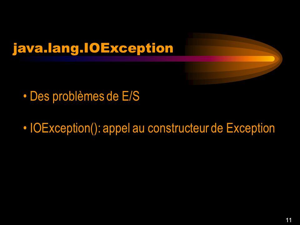 10 java.lang.Exception Toutes les erreurs quon pourrait traiter Exception (String message)