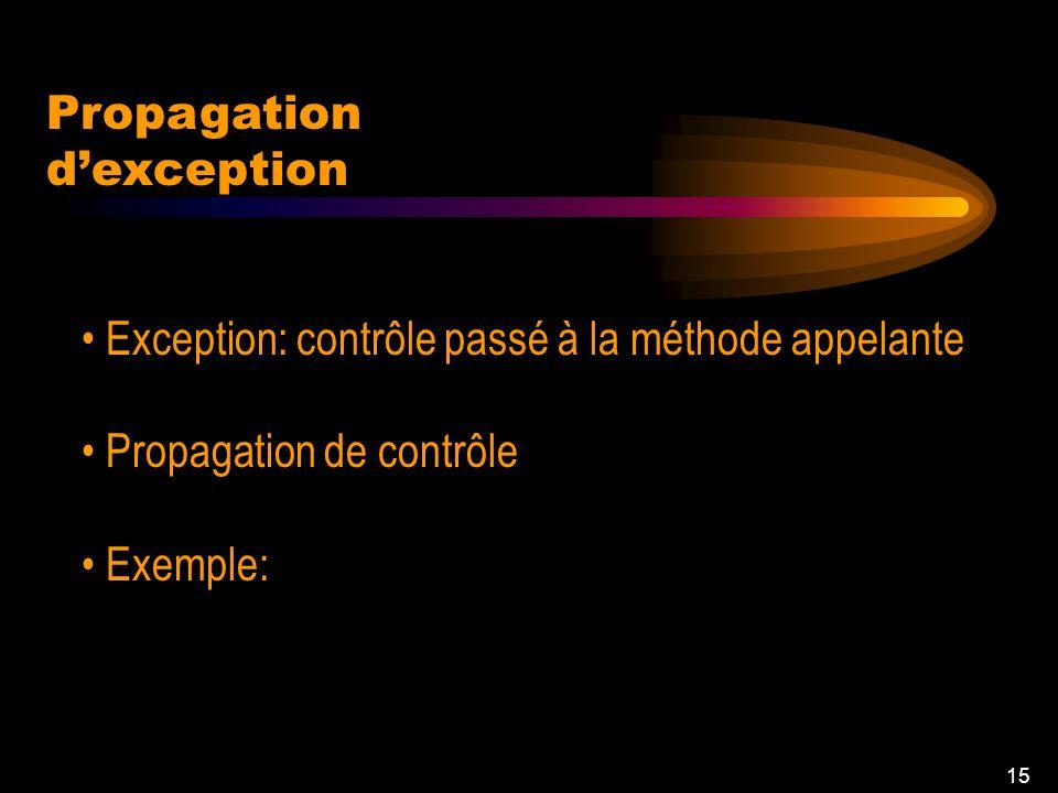 14 try/catch Si aucune exception: bloc try à exécuter Chaque catch gère une exception particulière Exemple: