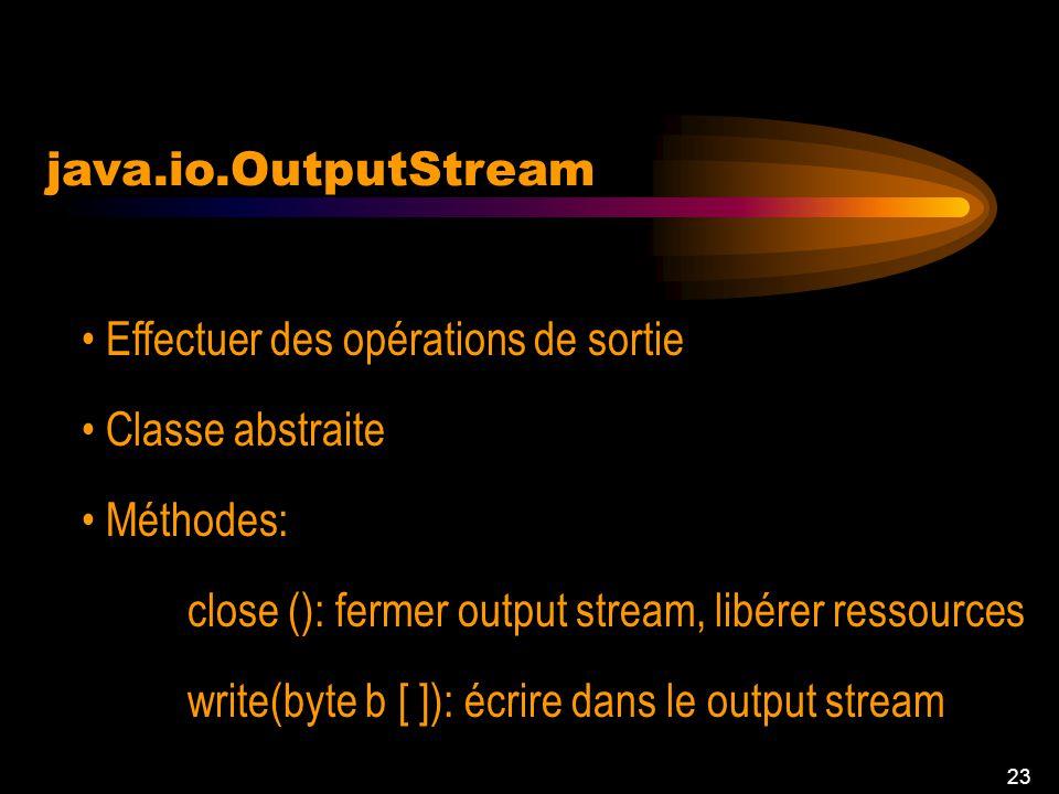 22 java.io.InputStream Lire des entrées Méthodes: read(byte b [ ], int off, int len): Lire un buffer et le placer dans le tableau