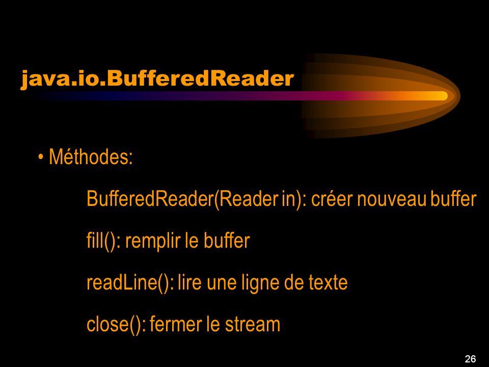 25 java.io.BufferedReader Mettre dans un buffer une entrée Constantes: defaultCharBufferSize = 8192;// taille par défaut defaultExpectedLineLength = 8