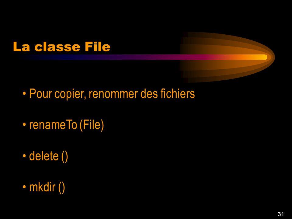 30 java.io.File Méthodes: public File(String pathname) // nouveau fichier public boolean canWrite() // écriture public String getAbsolutePath() // che