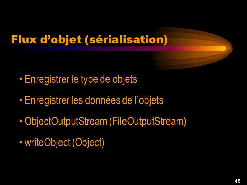 48 Enregistrer le type de objets Enregistrer les données de lobjets ObjectOutputStream (FileOutputStream) writeObject (Object) Flux dobjet (sérialisation)