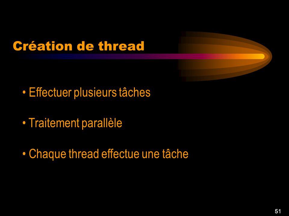 50 Threads Création de thread Problèmes Synchronisation Contrôle de thread Exemples