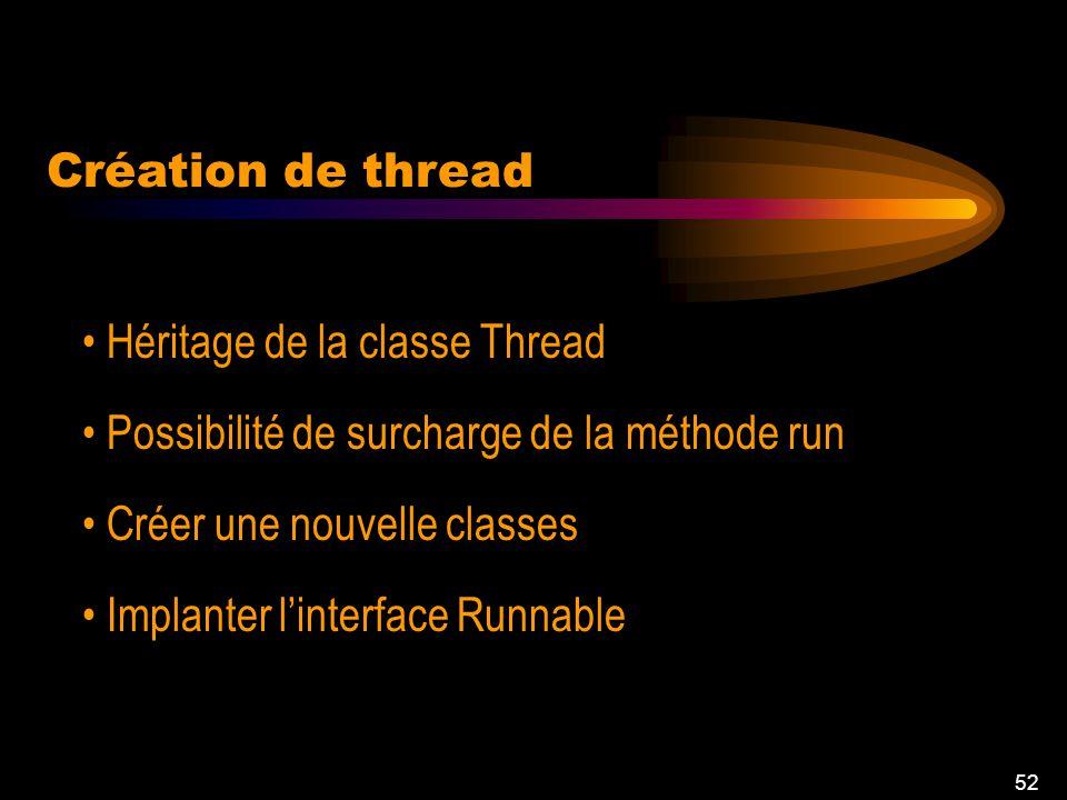 51 Création de thread Effectuer plusieurs tâches Traitement parallèle Chaque thread effectue une tâche