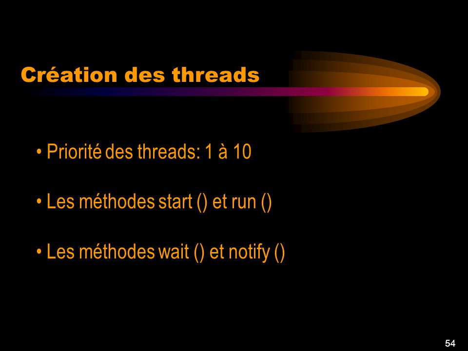 53 Création de thread On commence par invoquer la méthode start Concurrent flow task1 task2 task3