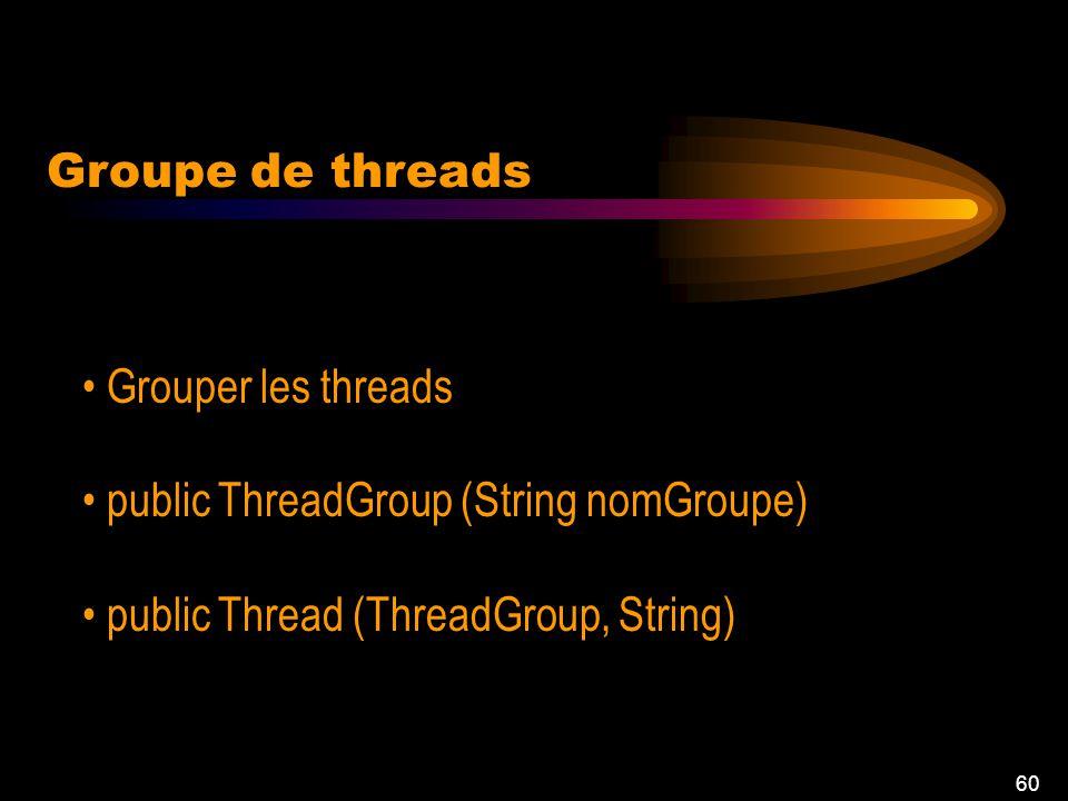 60 Groupe de threads Grouper les threads public ThreadGroup (String nomGroupe) public Thread (ThreadGroup, String)