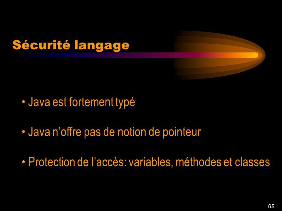 65 Java est fortement typé Java noffre pas de notion de pointeur Protection de laccès: variables, méthodes et classes Sécurité langage