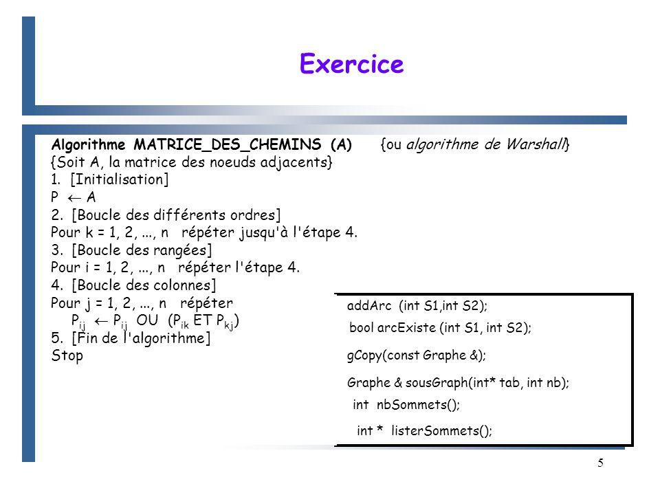 5 Algorithme MATRICE_DES_CHEMINS (A) {ou algorithme de Warshall} {Soit A, la matrice des noeuds adjacents} 1.