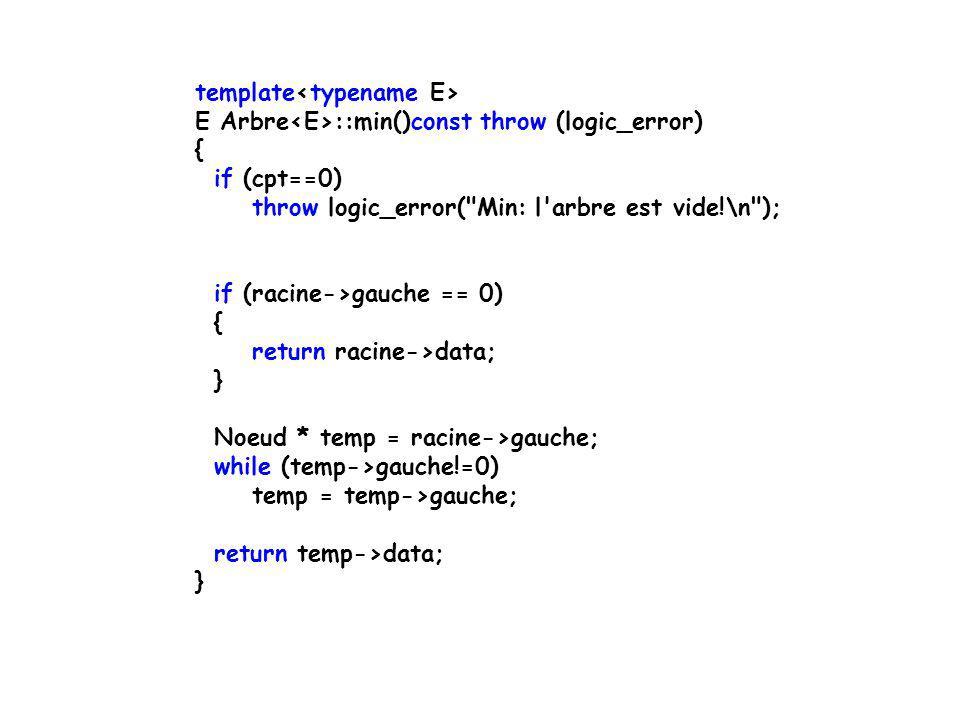 template E Arbre ::_max(Noeud*racine)const throw (logic_error) { if (cpt==0) throw logic_error(