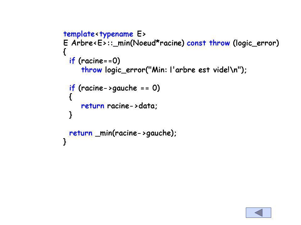 template E Arbre ::min()const throw (logic_error) { if (cpt==0) throw logic_error(