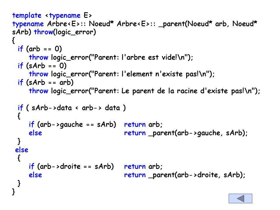 template E Arbre :: parent(const E& el) throw(logic_error) { Noeud* noeudDeEl = _auxAppartient(racine, el); Noeud* parentDeEl = _parent(racine, noeudD