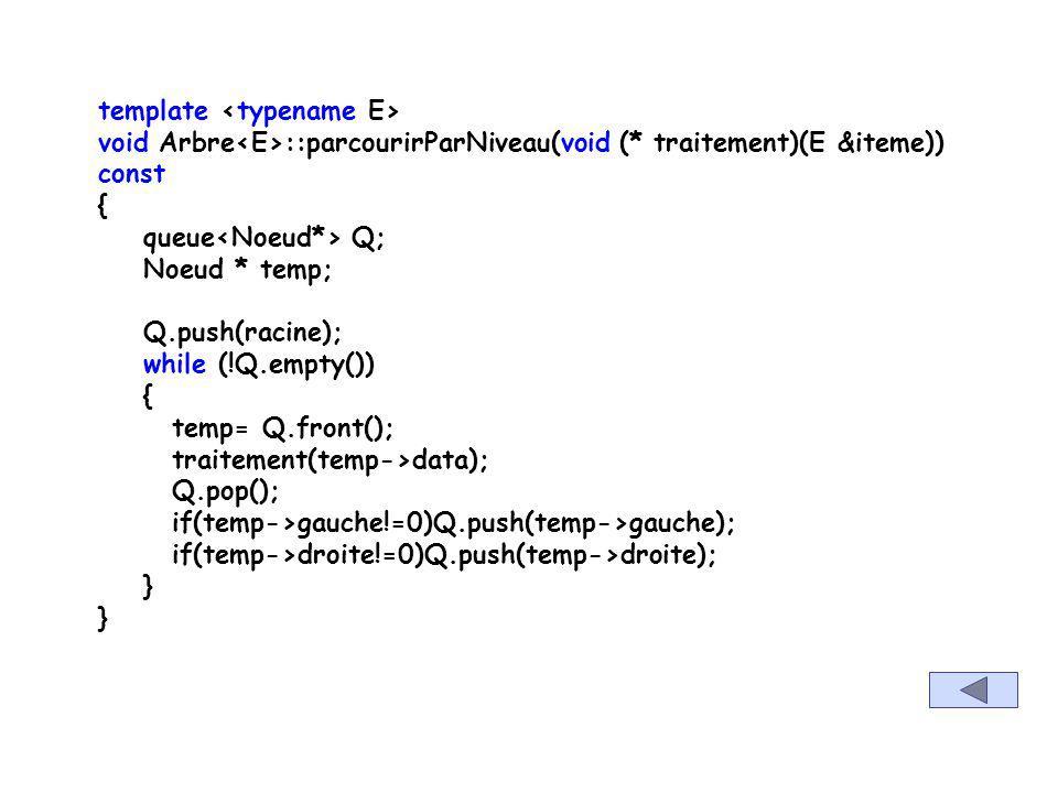 template void Arbre ::parcourirPreOrdre(void (* traitement)(E &iteme)) const { _auxPreOrdre(racine,traitement); } template void Arbre ::_auxPreOrdre(N