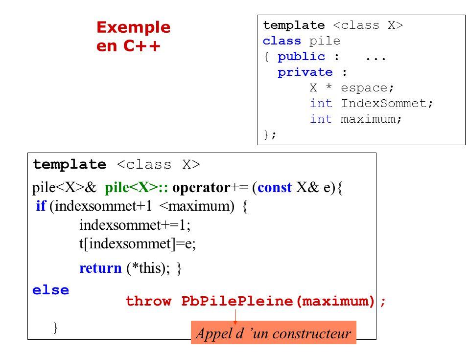Solution objet throw objet Exemple : throw PilePleine (…); Appel d un constructeur La fonction dans laquelle survient un dysfonctionnement lance une exception.