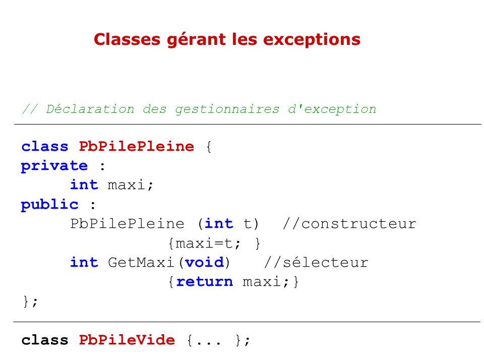 Exemple en C++ template pile & pile :: operator+= (const X& e){ if (indexsommet+1 <maximum) { indexsommet+=1; t[indexsommet]=e; return (*this); } else } template class pile { public :...
