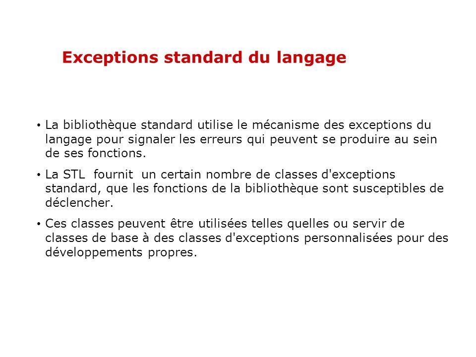 En détail (tout objet) Les erreurs faisant chacune l objet d une classe, on peut les organiser par catégorie et les classer par héritage.