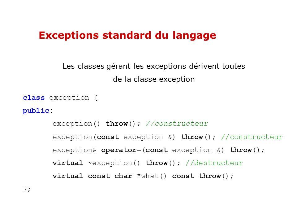 Hiérarchie des exceptions standard du langage L exception bad_alloc lancée par les gestionnaires de mémoire lorsque l instruction new ou new[] est en échec, dérive de la classe exception.