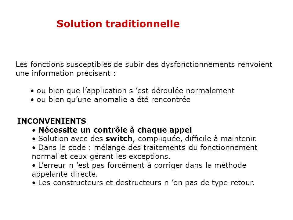 Solution traditionnelle # include enum exception {PilePleine, PileVide, Valider }; template class pile { public : pile(void); // constructeur ~ pile(void); // Destructeur exception sommet (X&) ; // sélecteur : sommet bool vide(void); // Sélecteur : pile vide .
